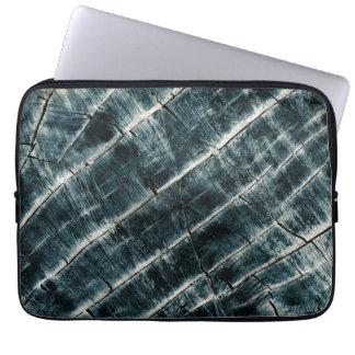 Blue Painted Wood Laptop Sleeve