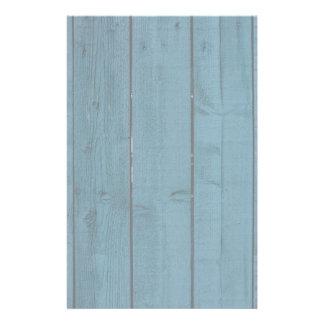 Blue painted wood planks personalised stationery