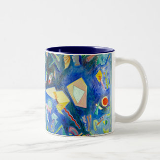 Blue Painting No. 2 Red and Blue Two-Tone Coffee Mug