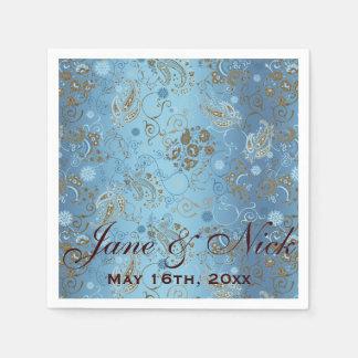 Blue Paisley Bridal Shower Disposable Napkins