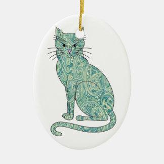 Blue Paisley Cat Ornament