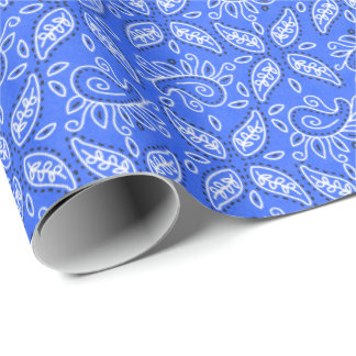 Blue Paisley Country Western wrapping paper