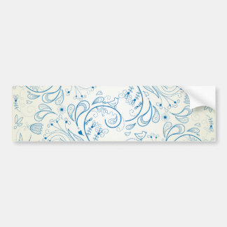 Blue Paisley Doodles Bumper Sticker