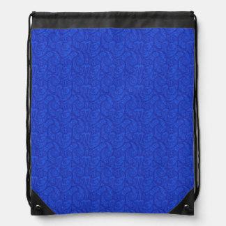 Blue Paisley Drawstring Bag