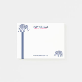 Blue Paisley Elephant & Decorative Stripes Post-it Notes