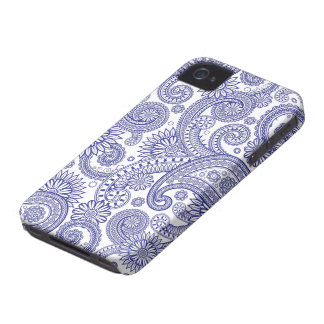 Blue Paisley Floral iPhone 4 Cases
