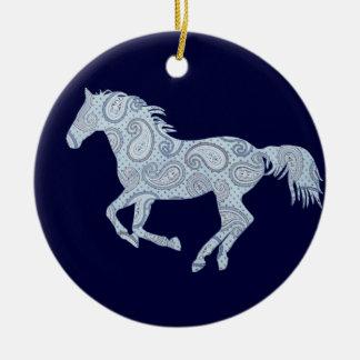 Blue Paisley Horse Round Ceramic Decoration