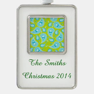 Blue Paisley on Bright Green Silver Plated Framed Ornament