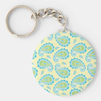 Blue Paisley on Yellow Key Chain