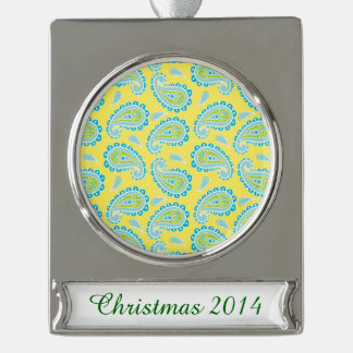 Blue Paisley on Yellow Silver Plated Banner Ornament