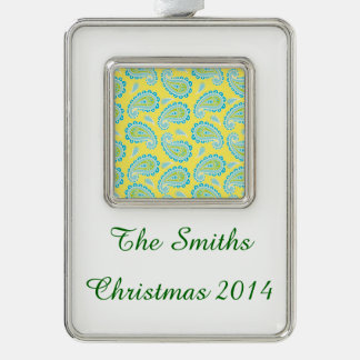 Blue Paisley on Yellow Silver Plated Framed Ornament