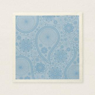 Blue paisley pattern disposable serviette