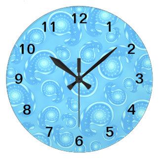 Blue Paisley Pattern. Large Clock