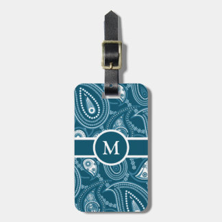 Blue Paisley Pattern Luggage Tag