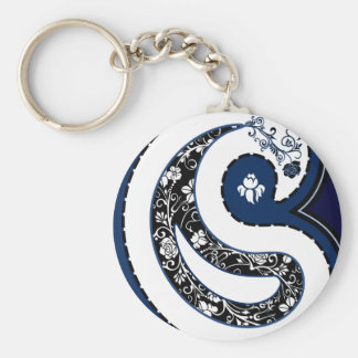 Blue paisley pattern ornate rose key ring