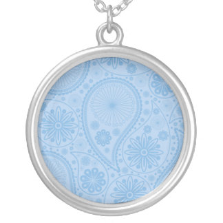 Blue paisley pattern silver plated necklace