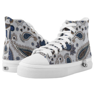 Blue Paisley print High top shoes