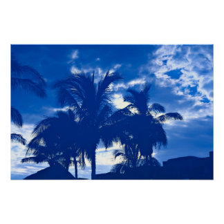 Blue Palm Trees Poster