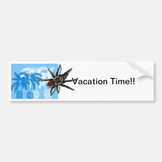blue palm trees with tarantula bumper sticker