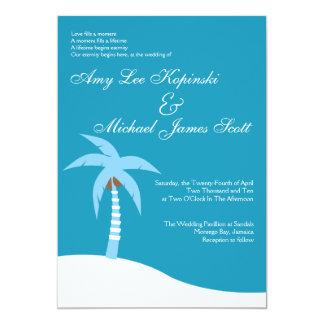 BLUE PALMTREE CARIBBEAN DESTINATION WEDDING INVITATION