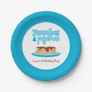 Blue Pancakes and Pajamas Birthday Party Paper Plate