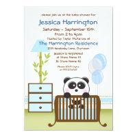 Blue Panda Baby Shower Invitations