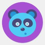 Blue Panda Round Stickers