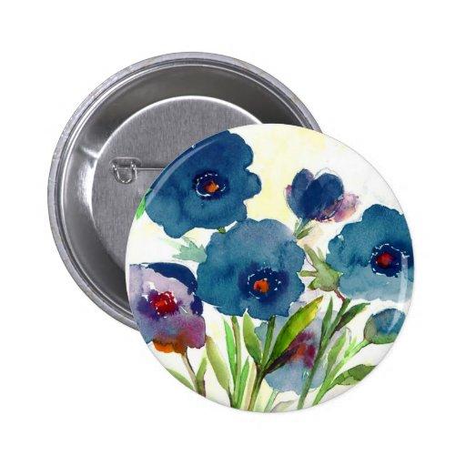 Blue pansies 6 cm round badge