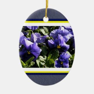 Blue Pansies Ceramic Oval Decoration