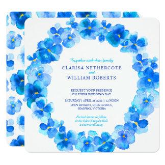Blue pansies watercolor flower wedding invitations