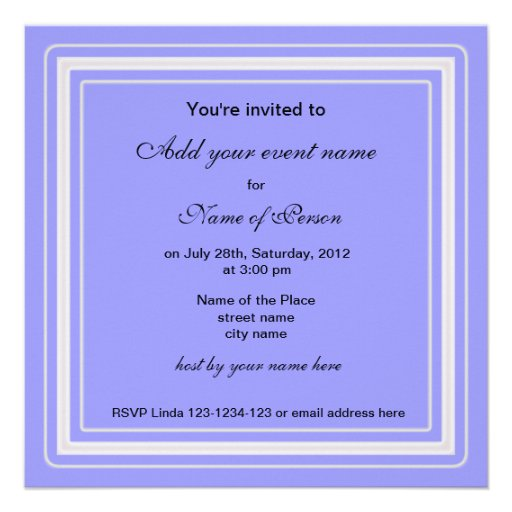 blue pansy flower all party invitation invite