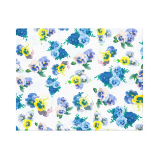 Blue Pansy Flowers floral pattern Stretched Canvas Prints