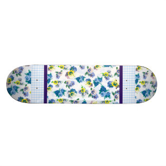 Blue Pansy Flowers floral pattern Skateboard Deck