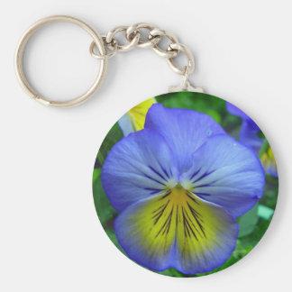 Blue Pansy Key Ring
