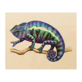 Blue Panther Chameleon Wooden Wall Art Wood Canvas