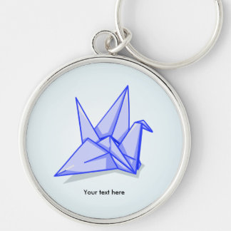Blue Paper Crane Key Ring