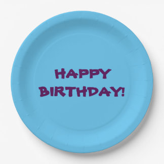 blue paper plate with happy birthday message