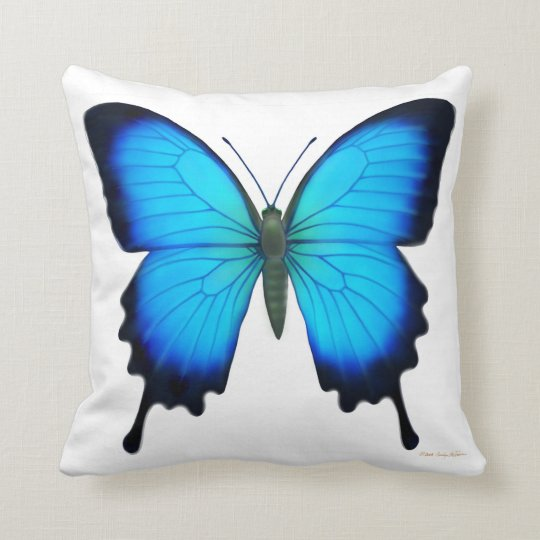 Blue Papilio Ulysses Butterfly Pillow