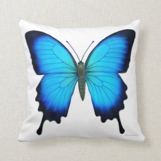 Blue Papilio Ulysses Butterfly Pillow Cushion