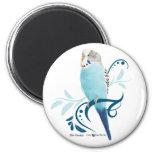 Blue Parakeet 6 Cm Round Magnet
