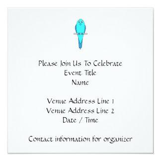 Blue Parakeet Bird 13 Cm X 13 Cm Square Invitation Card
