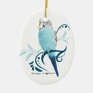 Blue Parakeet Ceramic Oval Decoration