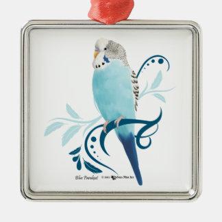 Blue Parakeet Christmas Ornament