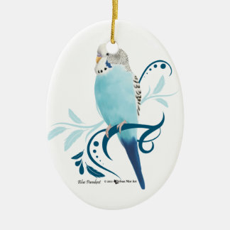 Blue Parakeet Christmas Ornament