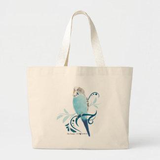 Blue Parakeet Large Tote Bag
