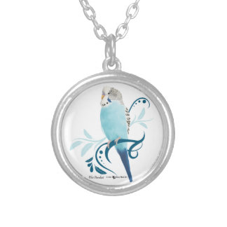 Blue Parakeet Silver Plated Necklace
