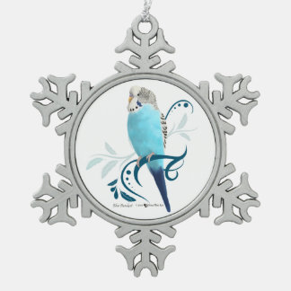 Blue Parakeet Snowflake Pewter Christmas Ornament
