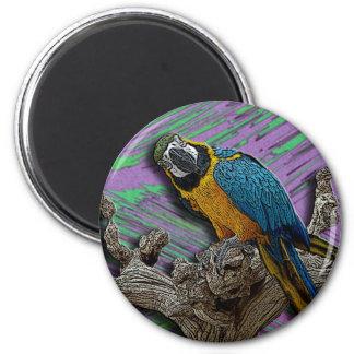 Blue Parrot & Palms magnet