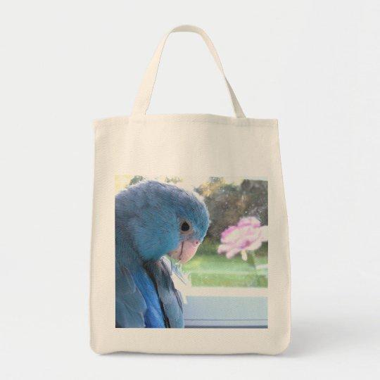 Blue Parrotlet Grocery Tote Bag Parrot carry bag