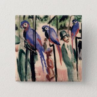 Blue Parrots 15 Cm Square Badge
